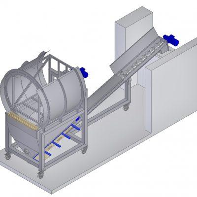 Schneckenförderer mit Behälter-Kippvorrichtung